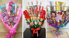Candy Bouquet Diy, Gift Bouquet, Valentines Day Baskets, Valentines Diy, Yarn Crafts For Kids, Diy Crafts To Sell, Diy Graduation Gifts, Bff Birthday Gift, Weird Gifts