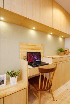 リビング収納、収納、作りつけ、壁面収納、天然木、無垢材、無垢フローリング、自然素材、水工房、リノベーション、シラス塗り壁、パイン材、スタディスペース、書斎コーナー