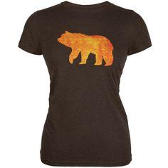 Native American Spirit Bear Heather Brown Juniors Soft T-Shirt | AnimalWorld.com