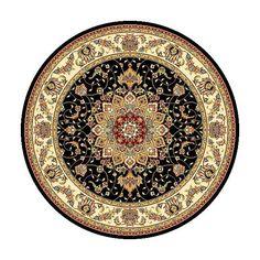Safavieh Lyndhurst Traditional Oriental Black/ Ivory Rug (8' Round), Size 8' (Polypropylene, Medallion)