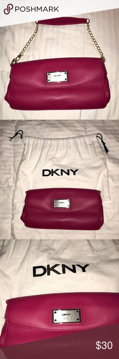 DKNY clutch/strap/hand/ arm bag Great leather bag, cow leather, has been worn, works like a clutch or shoulder bag or even a hand bag. Dkny Bags Clutches & Wristlets