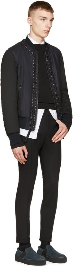 Lanvin Navy & Black Laced Detail Bomber