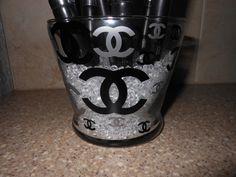 Chanel Inspired Glass Makeup Brush Holder. $15.00, via Etsy.