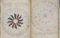 O pagină de misterios manuscris Voynich, care este indescifrabila în ziua de azi.  Imaginea din dreapta indică un ciclu de 24 de luni cu anotimpurile enumerate și imaginea din stânga indică luna cicluri și pozițiile planetare.