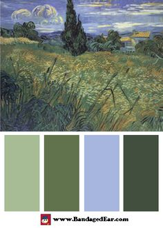 Green Color Scheme: Green Wheat Fields by Vincent van Gogh