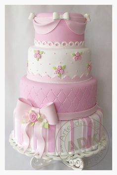 Pink and White Baby Girl Shower Cake Baby Cakes, Girly Cakes, Gorgeous Cakes, Pretty Cakes, Fondant Cakes, Cupcake Cakes, Shabby Chic Cakes, Cupcakes Decorados, Just Cakes