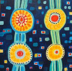 "Saatchi Online Artist Alexandra Ackerman; Painting, "" Yellow Circles on Blue"" #art"