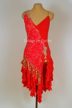 Tango Red Dance Crepe with Tango Red Lace; Topaz AB and Siam Red Crystals (Front)