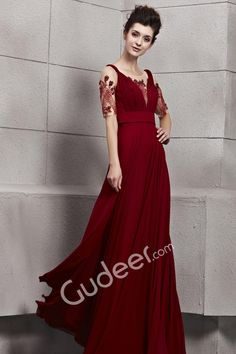 illusion jewel neckline with short sleeves ruby pleated long designer prom  dress Red Evening Gowns f528a2e1a5f8