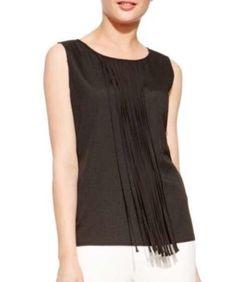 New Calvin Klein Sleeveless Black Fringe Top Size Medium | eBay