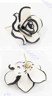 Black White Rose Flowers Earrings $.99 shipped