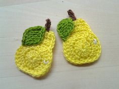 4pcs  Crochet Yellow Pear whole Appliques   made от appliquefarm, $2.80