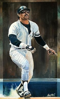 Reggie Jackson New York Yankees. Watercolor by Michael Pattison.  #yankees #pinstripes #mr.october