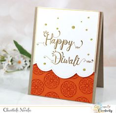 Handmade card by Chaitali Narla using the Peaceful Medallions set from Verve. Diy Diwali Cards, Handmade Diwali Greeting Cards, Diwali Craft, Diy Cards, Diwali Diya, Handmade Cards, Printable Invitations, Invitation Cards, Diwali Images