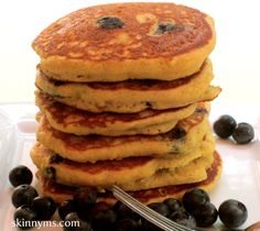 Who would have guessed gluten free pancakes would taste as scrumptious as these blueberry beauties look? #weightloss #glutenfree #breakfast