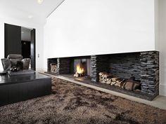 Portfolio - impressie openhaarden | Daniëls openhaarden Living Room, Furniture, Custom Fireplace, Living Room Modern, Luxury Living, Modern, New Homes, Fireplace, Black Furniture