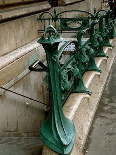 France. Art Nouveau Metropolitan entrance by Hector Guimard, Paris, 1900s