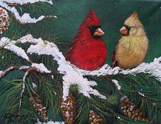 "Fine artist Sharon Duguay's winter wonder: ""Cardinals in the Snow"" painting."