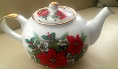 Vintage St. George Poinsettia Teapot Made in England by MOJEART