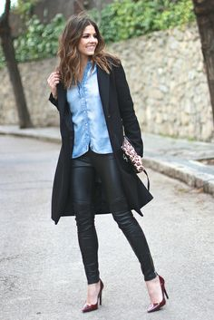 trendy_taste-look-outfit-street_style-ootd-blogger_spain-fashion-moda_españa-burgundy_stilettos-salones_granates-sandro-leather_pants-pantalones_piel-leo_clutch-bolso_leopardo-denim_shirt-camisa_vaquera-black_coat-zara-abrigo_negro-polaroid-14 by Trendy Taste, via Flickr