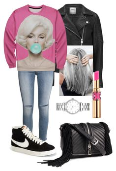 """""""BUBBLE"""" by frenkiefashion on Polyvore featuring ONLY, Capelli New York, H&M, NIKE, Yves Saint Laurent and Marc by Marc Jacobs"""