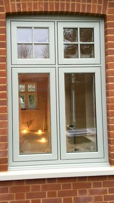 I love this trim color! Painswick coloured Residence 9 windows installed by Fenland Windows Porch Windows, Cottage Windows, Green Windows, Front Doors With Windows, Casement Windows, House Windows, Coloured Upvc Windows, Timber Windows, Victorian Windows
