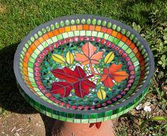 Fall Leaves Birdbath, Glass Mosaic