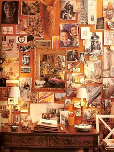 """#orange wall. Famed Interior Designer, Albert Hadley inspired us all with his """"inspiration board."""""""