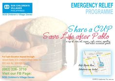 Let's Share some Cup of Hope...    For more details:  Please Call 082 226 3710    FB: SOS Children's Village Davao    #pablo #help #relief #SOS #Children #Davao