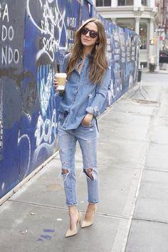 Double Denim   Blue Ripped Jeans #myreduns