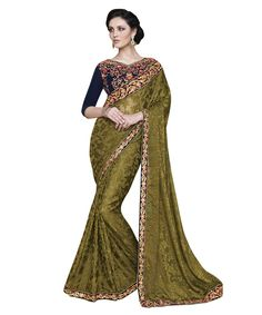 Buy Now Mehndi Fancy Embroidery Brasso Party Wear Saree With Dhupian Blouse only at Lalgulal.com. Price :- 2,712/- inr. To Order :- http://goo.gl/aZeuvH. COD & Free Shipping Available only in India