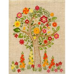 Hand Embroidery Kit The blossoming tree Decorative stitch Hand Embroidery Needlepoint Needlework Stitching Wall Decor Home decor Idea gift Diy Embroidery Designs, Hand Embroidery Kits, Silk Ribbon Embroidery, Crewel Embroidery, Embroidery Patterns, Russian Embroidery, Bordado Floral, Needlepoint Kits, Cross Stitch Kits