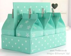 Stampin' Up! UK Independent Demonstrator Pootles - Mini Milk Carton And Carrier Tutorial