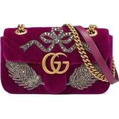 Gucci Gg Marmont Embroidered Velvet Mini Bag featuring polyvore women's fashion bags handbags gucci bordeaux purple handbags gucci handbags mini handbags sequin purse