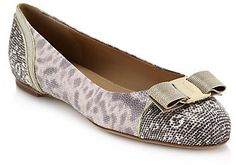 Salvatore Ferragamo Varina Chainmail-Bow Snake-Embossed Leather Ballet Flats on shopstyle.com