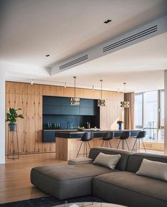 Swipe left ⬅️how amazing is this interior? - 📐 River Stone, the residential complex apartment interior designed by ZOOI Interior studio… Interior Design Examples, Luxury Homes Interior, Apartment Interior Design, Luxury Home Decor, Luxury Apartments, Home Interior, Interior Design Inspiration, Interior Decorating, Modern Kitchen Design