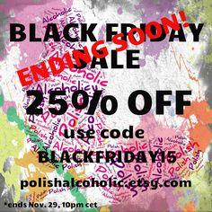 9 hours left to receive 25% DISCOUNT! Use code: blackfriday15 https://www.etsy.com/shop/polishalcoholic #sundayshopping #supportindies #indiepolish #sale #blackfriday #cybermonday
