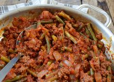 Lebanese Beef and Green Beans is a very simple recipe that packs a whole lot of flavor. Ground beef and onions are slowly simmered in a rich tomato sauce.