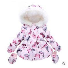 送料無料子供冬の女の子蝶毛皮の襟コート赤ちゃん子供パッド入りジャケット
