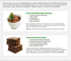 Yum - Shakeology Pudding and Brownie recipes