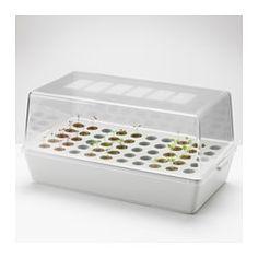 IKEA - VÄXER, Pud z pokr do sadzenia/kiełkowania, Pokrywa kiełkownicy umożliwia cyrkulację powietrza i utrzymuje wewnątrz ciepło i wilgoć - doskonałe warunki do kiełkowania dla nasion.