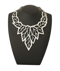 High fashion necklace - Geometric leaf silver statement necklace - Laser cut leather with a silver foil finish on Etsy, $44.64