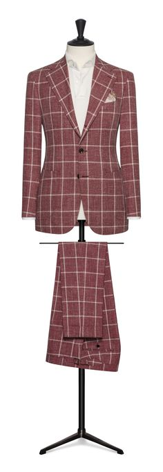 red with a white check made to measure suit Mens Fashion Suits, Male Fashion, Made To Measure Suits, Blazer, Check, Red, Jackets, Moda Masculina, Down Jackets