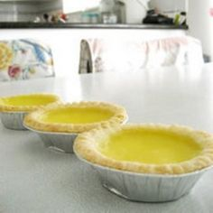 Hong Kong Style Egg Tarts (via Allrecipes) Tart Recipes, Egg Recipes, Asian Recipes, Dessert Recipes, Cooking Recipes, Asian Foods, Chinese Egg Tart, Tart Molds, Delicious Desserts