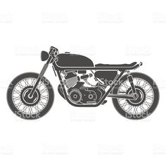 classic vintage motorcycle, cafe racer theme royalty-free stock vector art