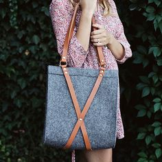 Felt Bag With Leather Handle FOX BAG by MOOSEdesignBAGS on Etsy