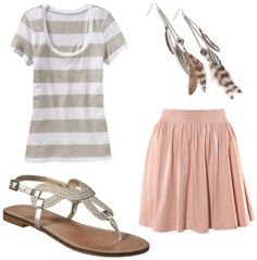 love the skirt with the metalic sandals, a nice brown/copper bag will wrap up the look