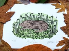 """Forest Floor"" Pig Lino Print  £15.00"