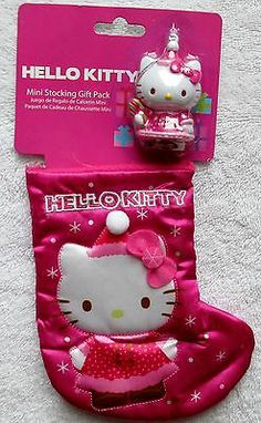 NEW HELLO KITTY ORNAMENT & MATCHING 6 INCH LONG CHRISTMAS STOCKING GIFT PACK!