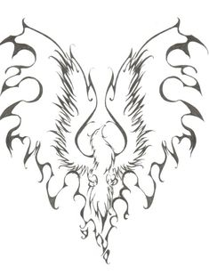 Phoenix Tattoo by ~sodoshiin on deviantART-- try taking out firm outline on flame wings